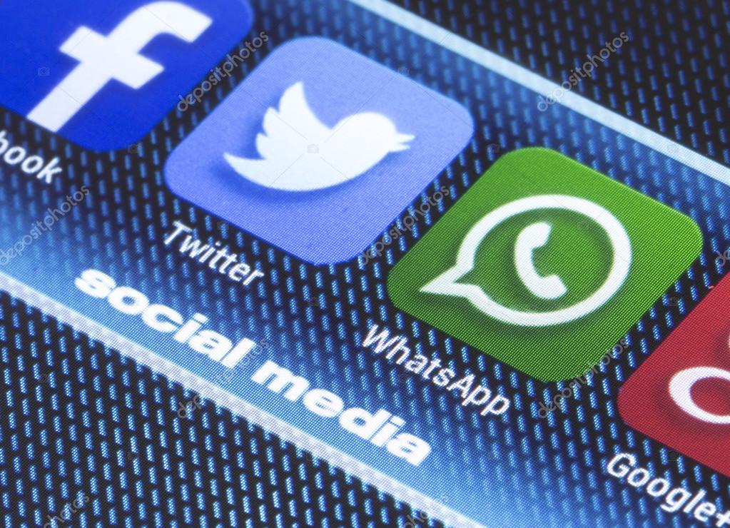 BELGRADE - JULY 11, 2014 Popular social media icons twitter whatsapp and other on smart phone screen close up