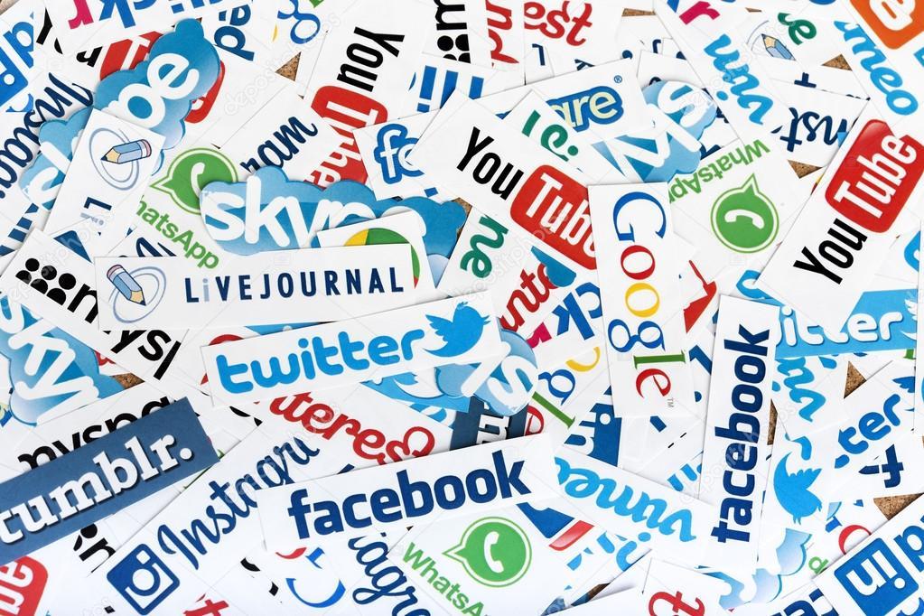 BELGRADE - JUNE 13, 2014 Social media website logos Facebook, Twitter and other printed on paper