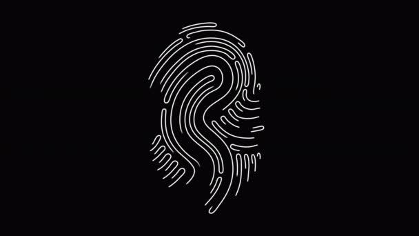 Touch ID Fingerprint Animation ist eine futuristische digitale Verarbeitung des biometrischen Scannerkonzepts und des Sicherheitsscannens von Anwendungen. Alpha-Kanal. Kein Hintergrund. Isoliert.