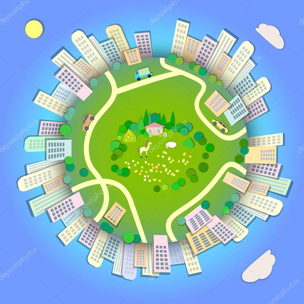 Miniature globe showing various modes life styles in the world.Globe concept showing a green,peaceful and idyllic lifestyle.Paper cut style.Flat Landscape Illustration with smooth vector shadows.
