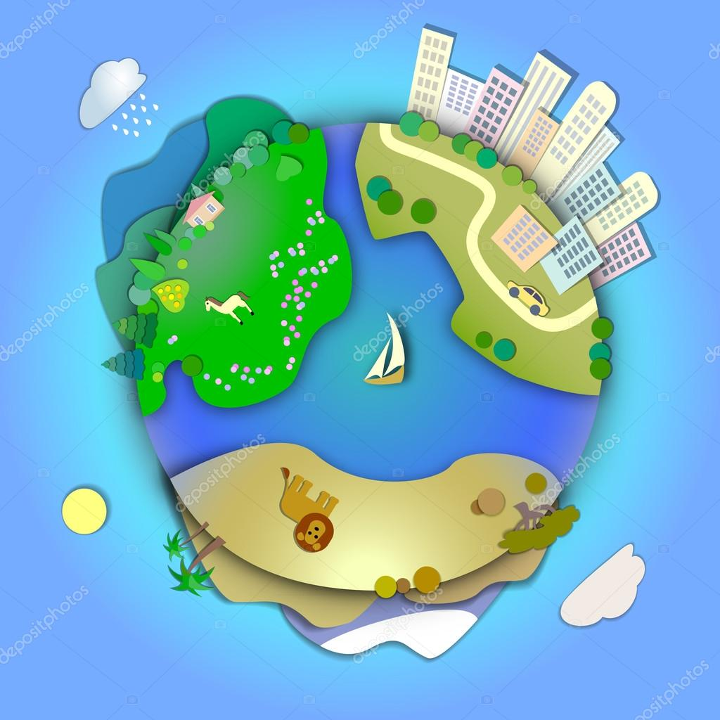 Miniature globe showing various landscapes like mountain,desert,city,woods,meadows,ranch.Travel around the world concept