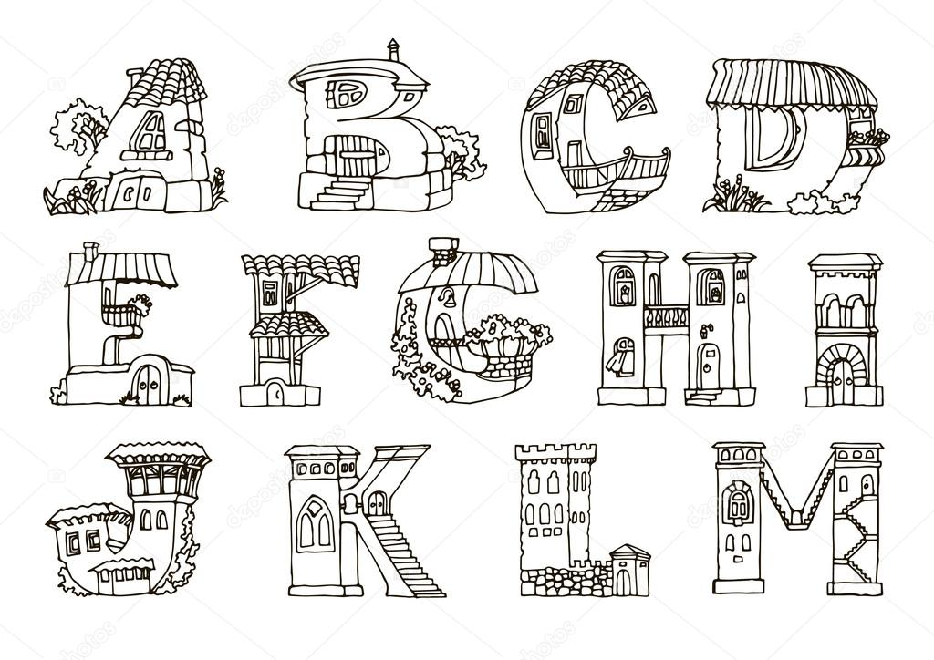 Line Art Letters : English language alphabet letters in houses shape hand