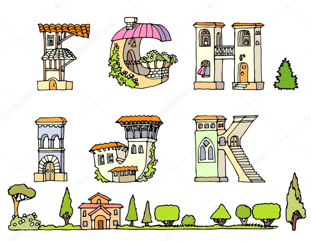 Vector Hand Drawn FontsHand Drawn FontLetters In Houses ShapeSet