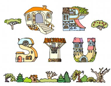 Vector Hand Drawn Fonts.Hand drawn font,letters in houses shape.Handwriting Alphabets with set of trees, shrubs and houses