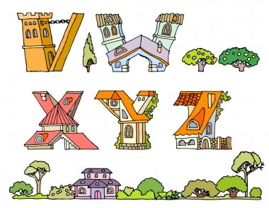 Vector Hand Drawn Fonts.The original English language alphabet.Set of ABCD uppercase alphabet letters.Hand drawn font,letters in houses shape.Handwriting Alphabets with set of trees, shrubs and houses stock vector