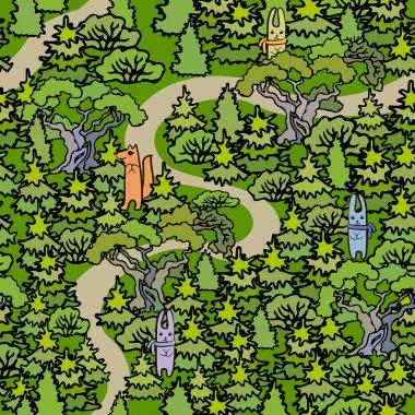 Cartoon Oak and fir trees seamless pattern background.Hand drawn