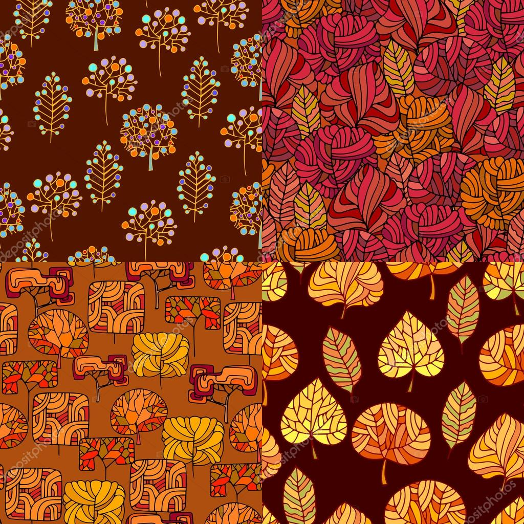 Set of Hand Drawn seamless floral patterns.Stylized Decorative l