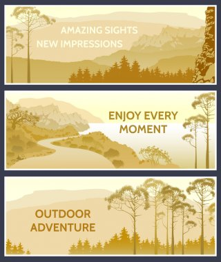 Outdoor thematic banner design with great wild landscapes.Brochu