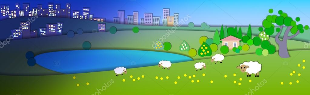 Change of seasons.Concept showing various modes life styles.Paper cut style.Flat Illustration with smooth shadow.Summer landscape with green fields,sheep in the pasture,Lake house.Different time zones