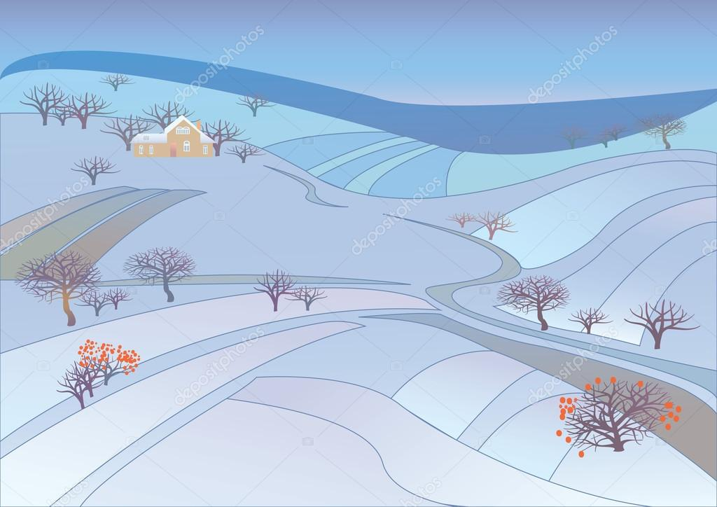 Beautiful winter rural landscape.