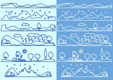 Line badges with landscapes and nature icons, linear graphics.