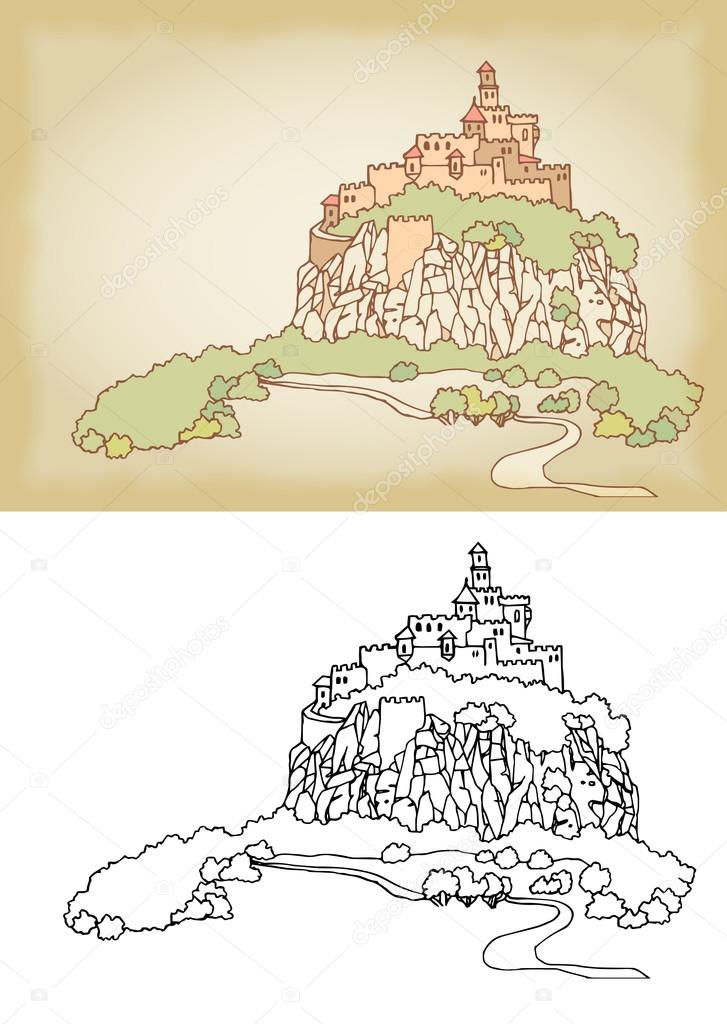 Mountain landscape with fortress on a cliff. Sketch, hand drawn