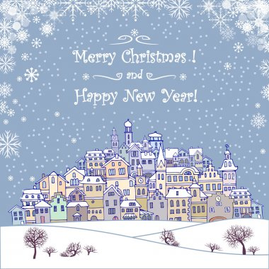 Merry Christmas and Happy New Year holiday background with inscr