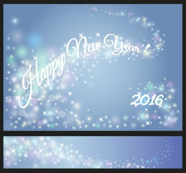 Happy New Year celebrations flyer, banner, poster or invitation with shiny text. New Year 2016