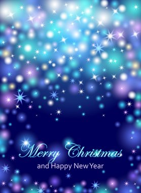 Merry Christmas and Happy New Year celebrations flyer, banner, poster or invitation with shiny text. Merry Christmas message with lights, shining stars, sparkling inscription on dark blue