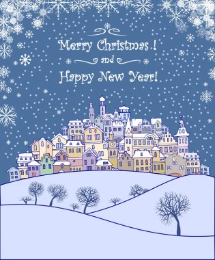 Merry Christmas and Happy New Year holiday background with inscription,urban landscape and snowfall.Merry Christmas greeting card with a small old town