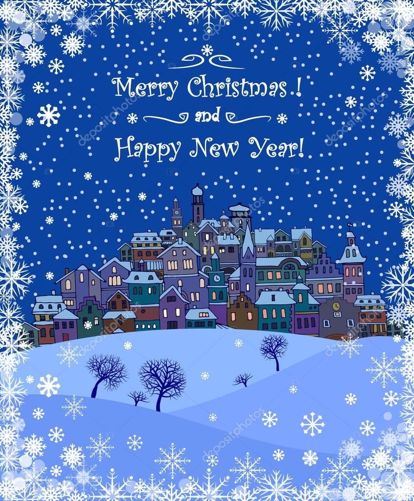 Merry christmas and happy new year holiday background with merry christmas and happy new year holiday background with inscriptionurban landscape and snowfallrry christmas greeting card with a small old town m4hsunfo