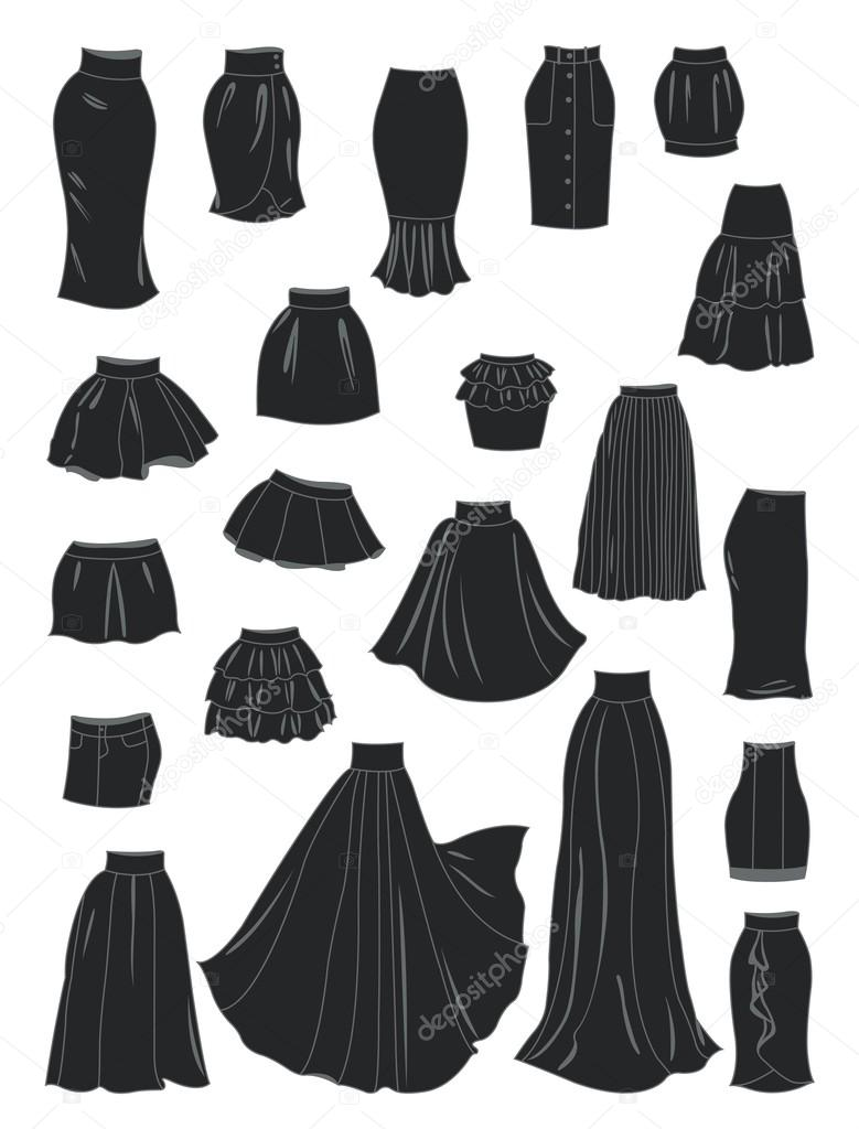 190199f342c7 Stylized silhouettes of women's skirts — Stock Vector © sibiryanka ...