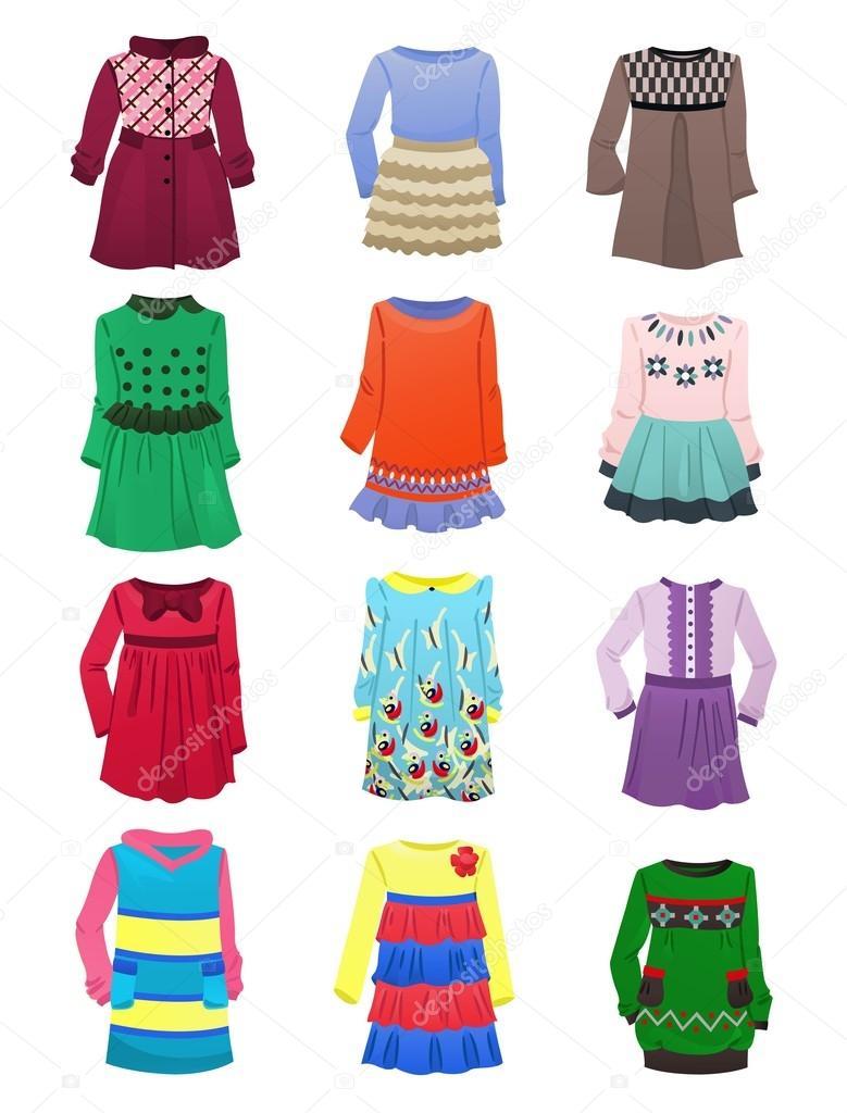 Набір утеплені дитячі сукні з довгим рукавом ізольовані на білому фоні —  Вектор від sibiryanka 109b9554167a9