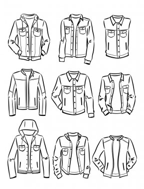 Contours of set of men's denim jackets isolated on white background stock vector
