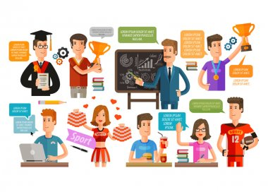 School, College or student, teacher set of icons. vector illustration