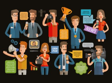 TV, broadcasting, journalism icons set. vector illustration