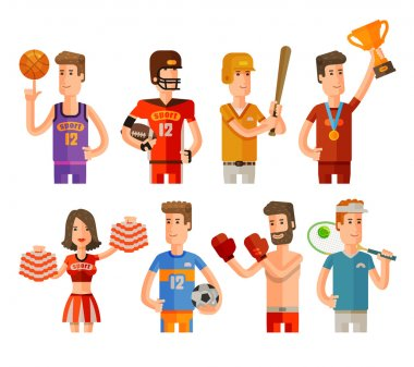 sport and athletes icons set. vector illustration