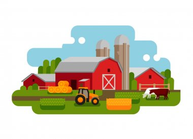 Flat vector illustration of a farm landscape. Agriculture, crop, field, barn, tractor, cow icons