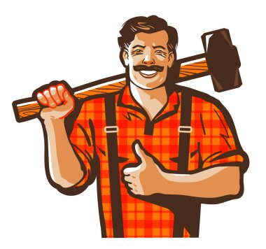 construction worker vector logo. workman, laborer or blacksmith icon