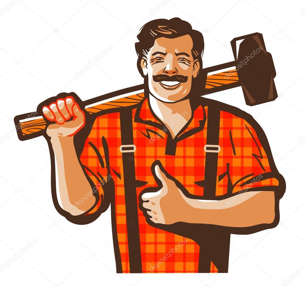 logo de vector de trabajador de construcción. icono de trabajador ...