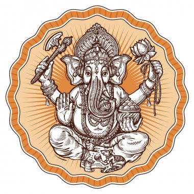 Ganesh Chaturthi. hand-drawn sketch religious symbol of hinduism. vector illustration