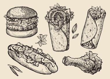 fast food. Hand drawn hamburger, burger, pizza, sandwich, chicken leg, hot dog, burrito, shawarma, gyros, pita bread. Sketch vector illustration