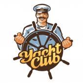 Yacht club vektor logo. hajó kapitánya, tengerész vagy helm, kormánykerék ikon