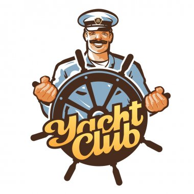 yacht club vector logo. ship captain, sailor or helm, steering wheel icon