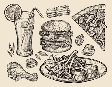fast food. hand drawn pizza, hamburger, fries, burger, grilled chicken, nuggets, fresh juice. sketch vector illustration