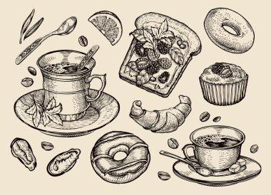 fast food. hand drawn sandwich, dessert, coffee cup, tea, donut, croissant, muffin. sketch vector illustration