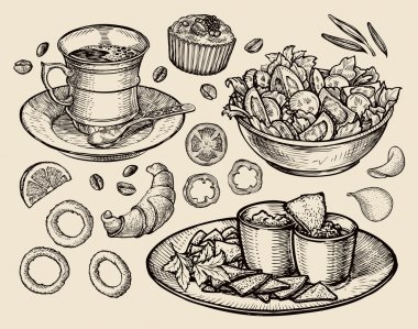 fast food. hand drawn cup coffee, tea, vegetable salad, nachos, muffin, dessert, croissant, onion rings, tomato. sketch vector illustration