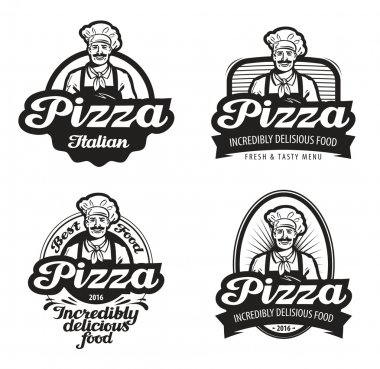pizza vector logo. cafe, food, pizzeria, restaurant or chef icon