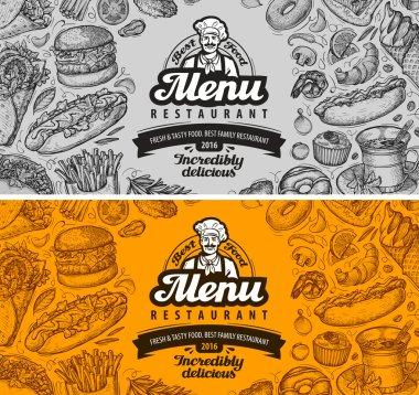 restaurant cafe menu template design. hand drawn sketches of food
