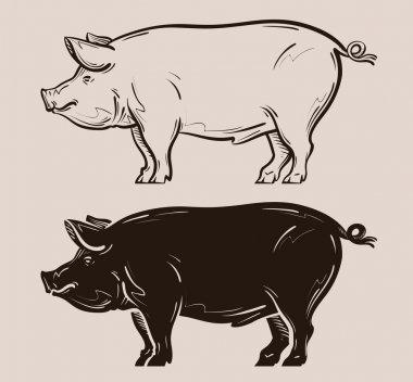 pig vector logo. farm, pork, piggy icon