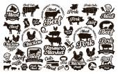 Fotografie Butchery, meat. Set logos, icons, elements, labels. vector illustration