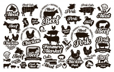 Butchery, meat. Set logos, icons, elements, labels. vector illustration