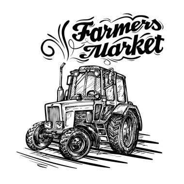 vector farm tractor hand drawn isolated on a white background