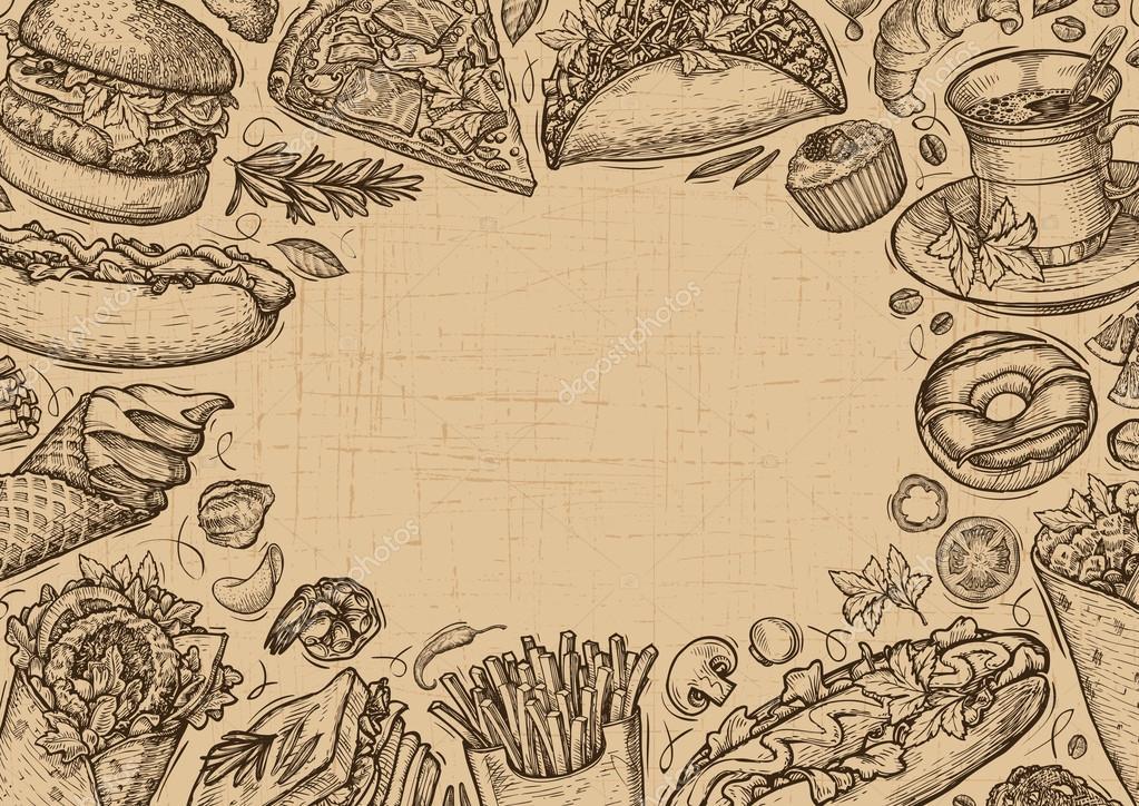 Vector vintage de comida rápida. Plantilla diseño menu restaurante o ...