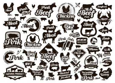 restaurant, cafe vector logo. food, meat or menu, cooking icon