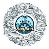 Photo seafood or food. vector illustration