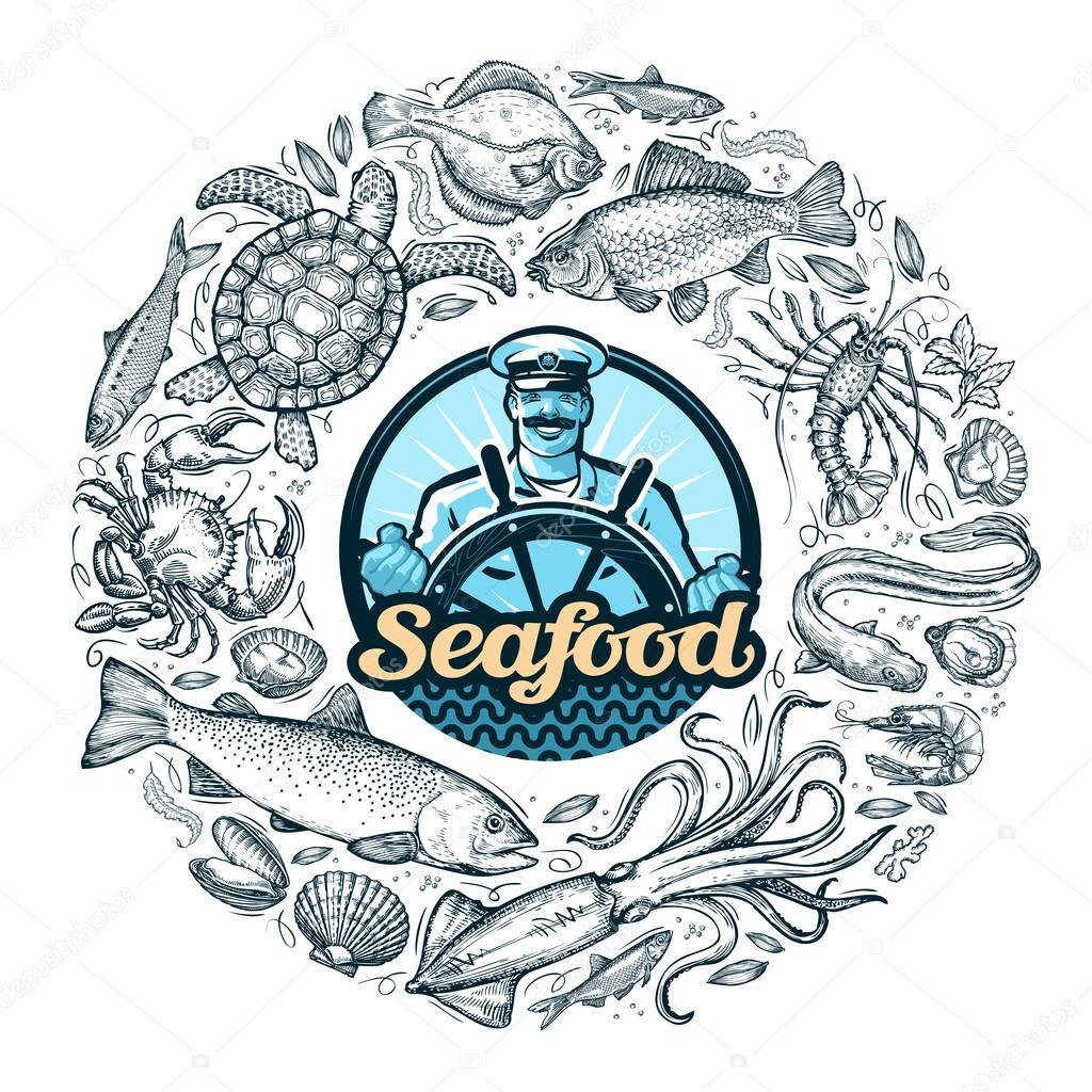 seafood or food. vector illustration