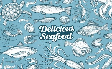 Hand drawn sketch seafood. Vector illustration