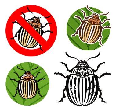 Colorado potato beetle and prohibition sign. vector illustration