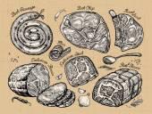 Photo meat. set sketch food. vector illustration